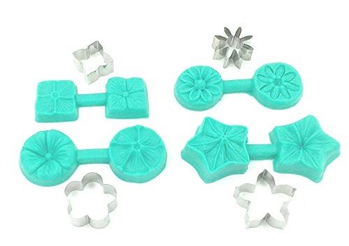 8-Piece Set Flower with Stainless Steel Cutter Shaper 3D Shaped Silicone Cookie Cutters for Marzipan Fondant Cake Decoration