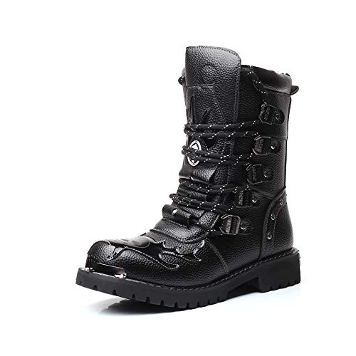 Punk Style - Botas para Hombre Negro Negro 40.5, Color Negro, Talla 44.5