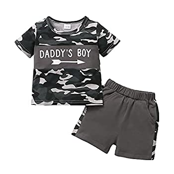 Baby Boy Clothes Outfits Summer 1 Year Old Boy Clothes Camo Shirt Daddys Boy Shorts Set Baby 2 Piece Outfit 12-18 Month Boy Clothes