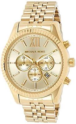 Michael Kors Lexington MK8281 de cuarzo para hombre, correa de acero inoxidable color dorado (cronómetro, agujas luminiscentes)