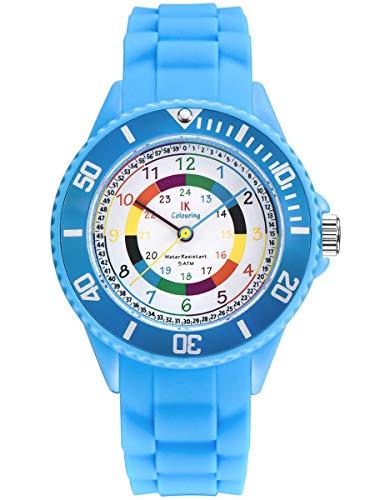 Alienwork IK Lernuhr Kinder Armbanduhr für Jungen Mädchen hellblau mit Silikon-Armband Mehrfarbig Kinderuhr Wasserdicht 5 ATM