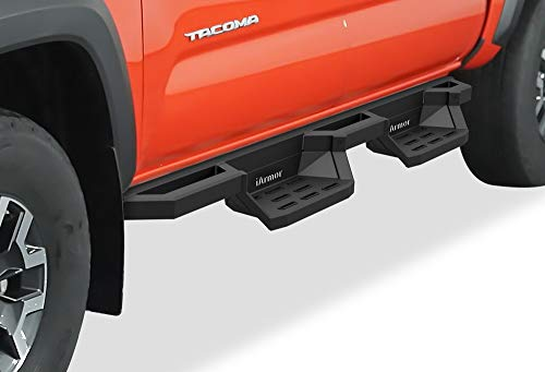 APS Aluminum Drop Steps Running Boards for Selected Toyota Tacoma Double Cab Crew Cab, Side Armor Drop Step,IA-TIIT058B,Aluminum Black