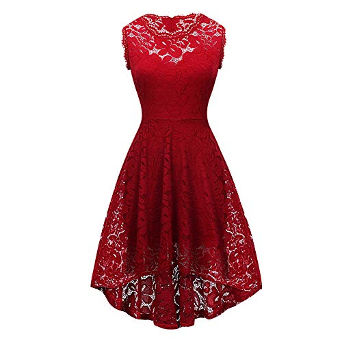 FeelinGirl Mujer Vestido Asimetrico de Encaje Floral sin Mangas Falda Cótel Elegante Sexy Rojo-61 L/Talla 40-42