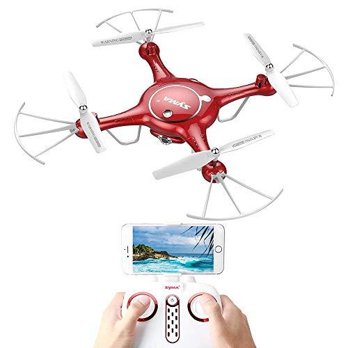 RC avión no tripulado Quadcopter Wifi de la cámara FPV 720P HD con la función de control de aplicaciones Vuelo retención de altitud Syma X5UW Mini FPV Quadcopter avión no tripulado con 2 baterías