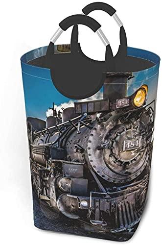 Cesta de lavandería retro de tren de vapor plegable para ropa de anime, cesta de lavandería, duradera y plegable, bolsa de lavandería grande con asas, bolsa de mano portátil