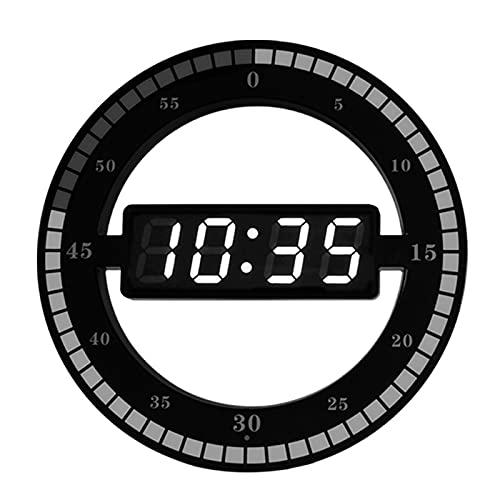 GGZZLL Reloj Electrónico Digital, Reloj De Pared Silencioso De Plástico, Reloj Redondo LED Simple, Diseño De Reloj Y Segundos Colgantes De Doble Propósito, Ajuste Automático De Brillo