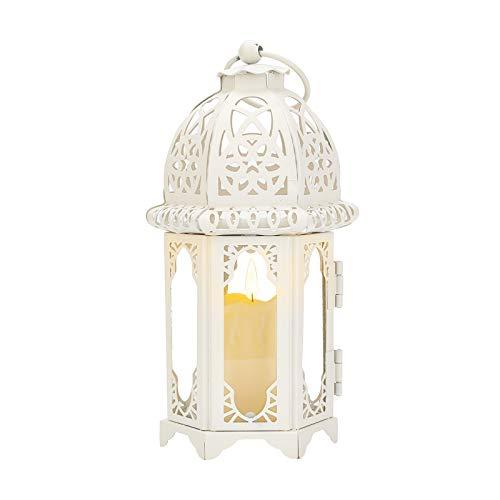 PandaHall Farolillos decorativos blancos de 18,8 cm de metal hueco candelabro para interiores y exteriores, eventos, fiestas, bodas, hogar, patio, decoraciones navideñas