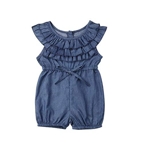 Longfei Kleinkind Mädchen Denim Bund kurze Ärmel Body Jumpsuit Outfit Frühling Sommer Kleidung 0-4 Jahre Gr. 6-12 Monate, Blaue Rüschen
