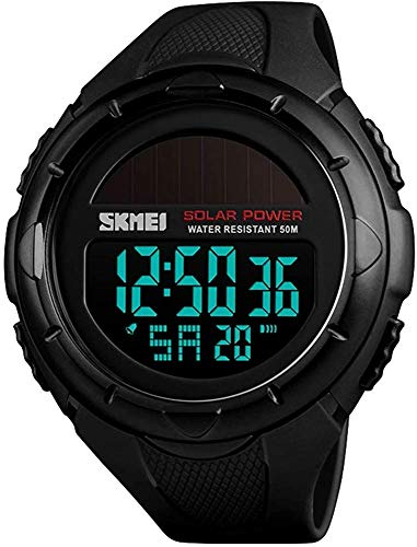 Men's Outdoor Sports Multifunction Solar Power LED Digital Watches 50M Water Resistant (Black)
