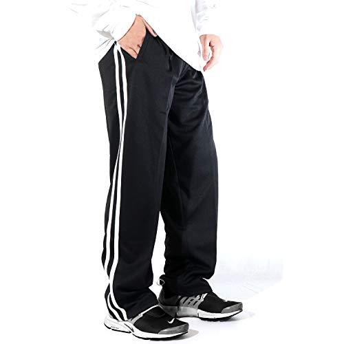 [ステイランド] ジャージパンツ ジャージズボン ストレート ロング 無地 サイドライン メンズ (ブラック×ホワイト, L)