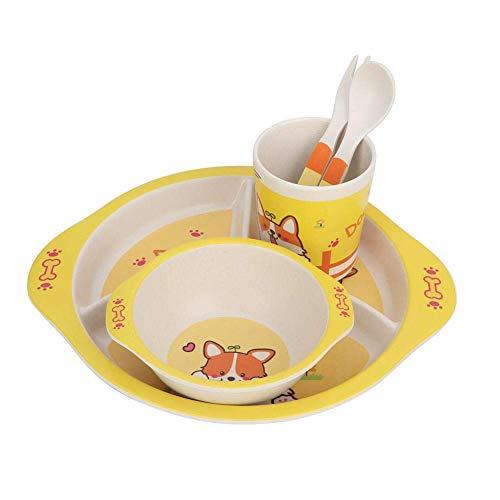 Kinderen gerechten, vijf stukken van bamboe fiber kind plaat kom kop kookgerei met deksel vork lepel,Yellow