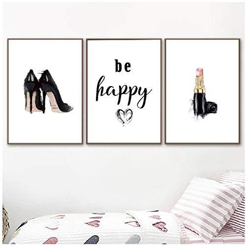 xwwnzdq Be Happy Beauty Wall Art Foto's Muurdecoratie Hoge Hakken Lippenstift Canvas Schilderen Mode Posters en Prints voor Meisje Kamer Salon 40x60cmx3 Geen Frame