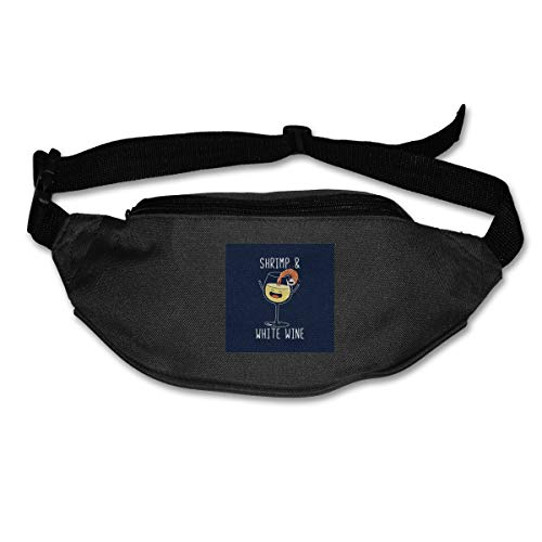 HKUTKUFGU Bauchtasche für Damen und Herren, Garnelen und Weißwein-Tasche, Reisetasche, Bauchtasche für Laufen, Radfahren, Wandern, Workout