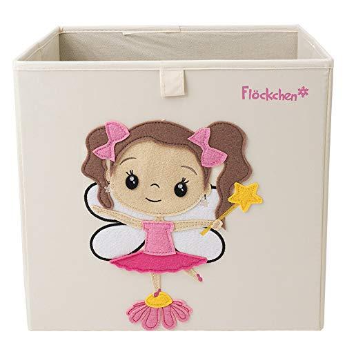 Flöckchen Kinder Aufbewahrungsbox | Premium Spielzeugkiste für Kinderzimmer I Spielzeug Box (33x33x33) bringt Ordnung ins Kallax Regal I Kinder Märchen Motiv (Fiona die Fee (hell))