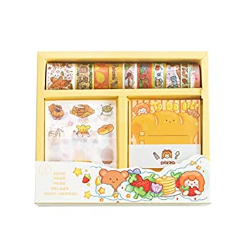 Kawaii Washi Masking Tape Sticker Memo Pad Set  10 Rolls Tapes+10 Sheets Stickers+30 Sheets Memo Pad  Cute Fruit Food DIY Decorative Label for Scrapbooking Planner Diary Album Stationery