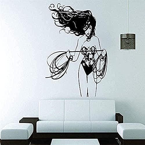 Vinilo Dc Superhéroe Wonder Woman Girl Mural Girl Habitación Infantil Decoración De La Casa Diseño Decoración 42X48 Cm