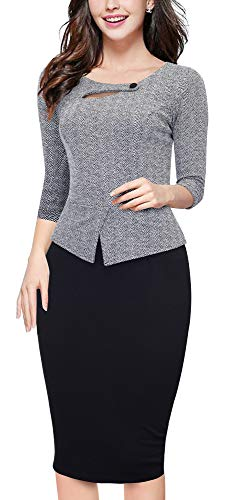HOMEYEE Women's Elegant Chic Bodycon Formal Dress B288 (XXL, Gray Pattern+Black)