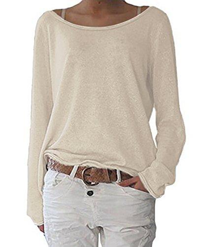 ZANZEA Damen Langarm Lose Bluse Hemd Shirt Oversize Sweatshirt Oberteil Tops Hellbeige EU 36-38/Etikettgröße S