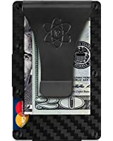 RFID Blocking Carbon Fiber Credit Card Holder and Metal Money Clip by Rossm - Mini and Slim Minimalist Wallet for Men - Rigid Front Pocket ID and Cash EDC for Euro and Usd - Minimal Business Look