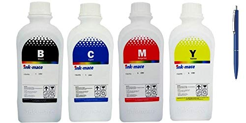 Ink-Mate Recambio de botella de tinta compatible para HP, 1 C2P23AE 1000 ml negro, 1 C2P24AE 1000 ml cian, 1 C2P25AE 1000 ml magenta, 1 C2P26AE 1000 ml amarillo y bolígrafo Schneider