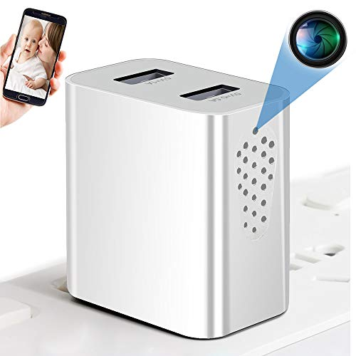 Spy Camera Wireless Hidden WiFi Camera with Remote Viewing, 1080P HD USB Charger Camera, Nanny Cam / Secret Camera / Security Camera, Perfect for Power Strip, Motion Activated, No Audio【Side View】