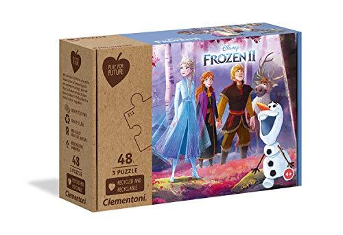 Clementoni Play For Future-Disney Frozen 2-3x48 pezzi-materiali 100% riciclati-Made in Italy, puzzle bambini 4 anni+, 25255