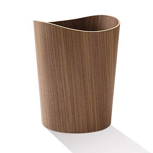 VISEN ゴミ箱 木製ゴミ箱 木目調ごみ箱 ダストボックス 天然木 9L大容量 北欧 シンプル デザイン インテリア 寝室のリビングルームのオフィスに適しています 約Φ23.5 x Φ19 x 29.5cm (丸辺 ダークブラウン)