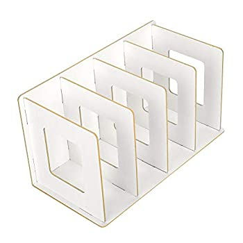 Book Rack Wooden Desktop Bookshelf Rack DIY Books DVD Storage Magazine Holder for Students Kids Adult Warm White