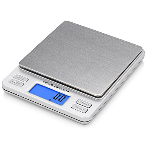Smart Weigh Digital Pro Pocket Scale with Back-Lit LCD Display,Jewelry Scale, Coffee Scale, Food Scale with Tare, Hold and Counting Function, 2000 x 0.1gram
