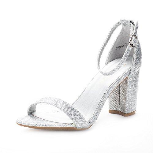 DREAM PAIRS Women's Chunk Silver Glitter Low Heel Pump Sandals Size 8 M US
