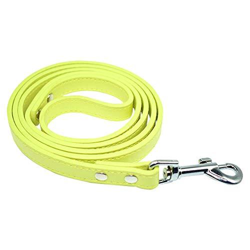 LILONGXI Correa De Tracción,Yellow LeatherDog Leash Rope Small Medium Dogs Harness Leash Running Safe Dog Belt Pet Dog Long Lead Leash