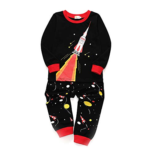 Chickwin Jungen Langarm Zweiteiliger Schlafanzug, Baumwolle Kinder Universum Raumschiff Rakete Drucken Nachtwäsche Herbst Winter Unisex Pyjamas Sets (140cm,Schwarze Rakete)