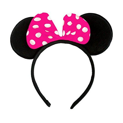 Oblique-Unique® Haarreifen mit Maus Ohren und Schleife in Pink Weiss