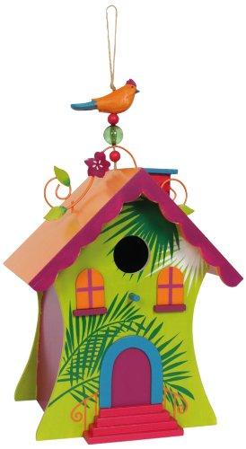 """Vogelhaus """"Hawaii"""" aus bunt lackiertem Holz - stabil und wetterfest - schöne farbenfrohe Gartendekoration"""