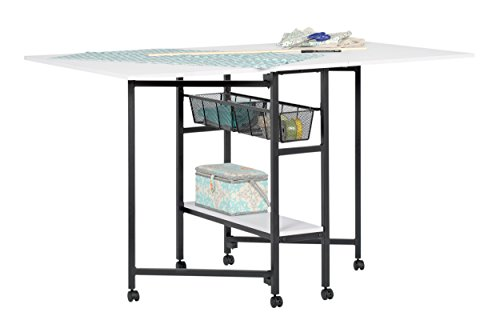 Studio Designs Sew Ready Standing Height Craft / Cutting Table with Baskets (36″ H) in Charcoal / White (13378)