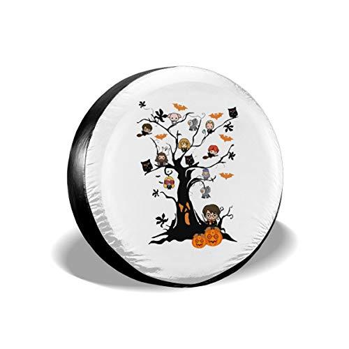 Winodfrw Ha-rry Tree Chibi Pumpkin Pot-TER Halloween Tire Covers Waterproof Dust-Proof Tire Covers Wheel Cover (14-17inch)