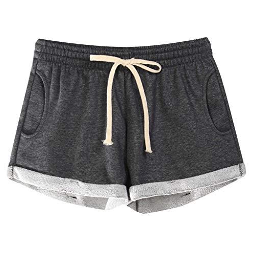 LEEDY Ausverkauf! Damen Shorts Sommer Sport Kurze Hosen Badeshorts Schwimm Running Yoga Hose Schlafanzug mit Tasche