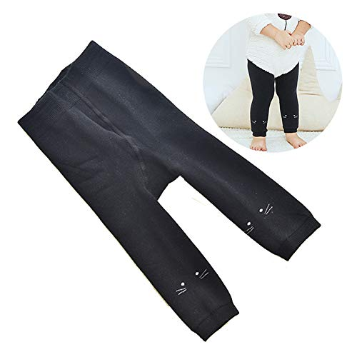 SanQing LOVE Winter Girls Pantyhose Soft Knit Pants Baby 9 Points Leggings solid Color warm Long Socks Baby Pants Suitable for 0-4 Years Old Girls,Schwarz,M
