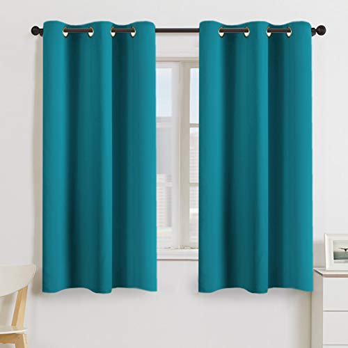 Turquoize Teal Blackout Window Drapes Room Darkening Themal Insulated Grommet/Eyelet Top Nursery/Living Room Curtains for Bedroom/Living Room Each Panel 42' W x 63' L (Set of 2 Panels)