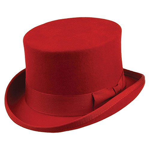 Jaxon & James Chapeau Haut de Forme Mid Crown Rouge Large