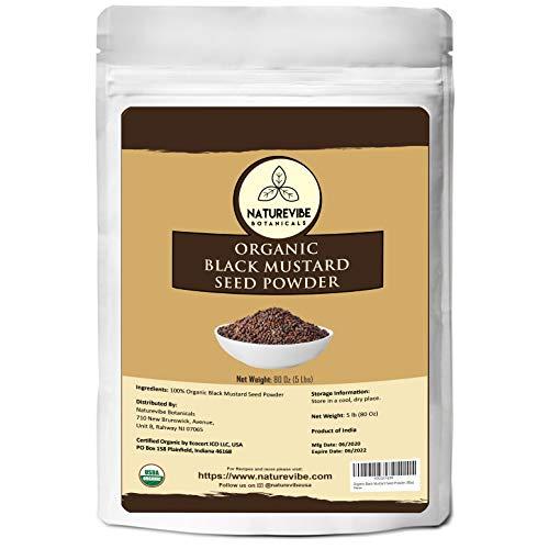 Naturevibe Botanicals Organic Black Mustard Seed Powder (5lbs)   Non GMO and Gluten Free   Indian Spice