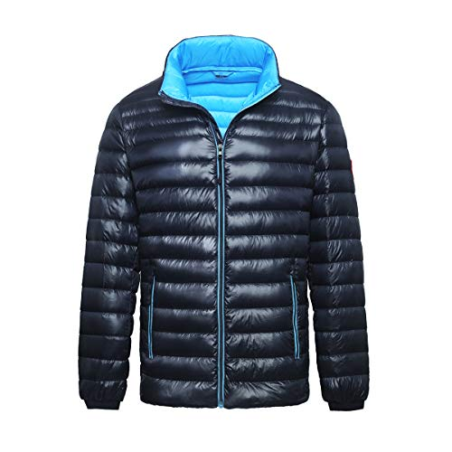 Rokka&Rolla Men's Ultra Lightweight Packable Puffer Down Jacket (S, Night Sky)