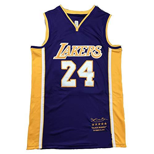 Lakers Bryant 24# Basketball Trikot für Herren - Schwarz Mamba Swingman Trikots Retired Unisex Ärmelloses Shirt Sport Top 90er Retro Hip Hop Kleidung für Party Gr. S, B