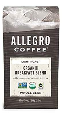 Allegro Coffee Organic Breakfast Blend Whole Bean Coffee, 12 oz
