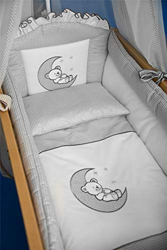 Juego de ropa de cama de 3 piezas para cuna de 140 x 70 cm, bordado, color azul