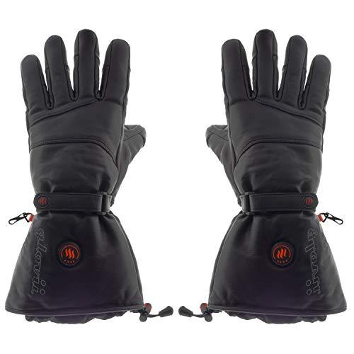 Glovii - Cuero Natural Guantes Universal calefactables, Guantes de esquí con calefacción, Calentado por la Batería (L)