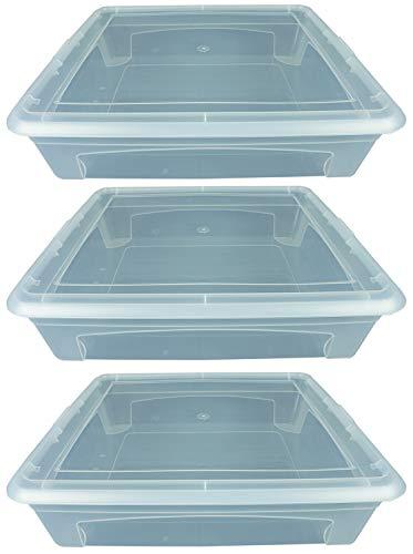 Novaliv 3X Aufbewahrungsboxen 13l 40x34x10 Stapelbox Plastikbox transparent Kunststoffbox Flach Kasten mit Deckel Plastic Storage Box multibox Lagerbox 40cm