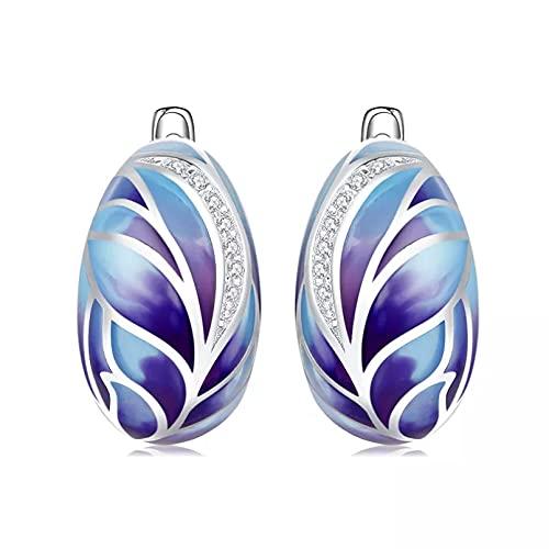 WLLLTY Pendientes Plata de Ley 925 para Mujer, Pendientes de circonita cúbica Brillante, Pendientes de Plumas Azules esmaltados, Jewelr