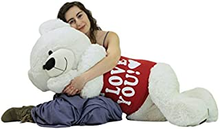 Big Plush Giant Valentine's Day Teddy Bear 52 Inch White Soft, Wears Removable T-Shirt I Love You