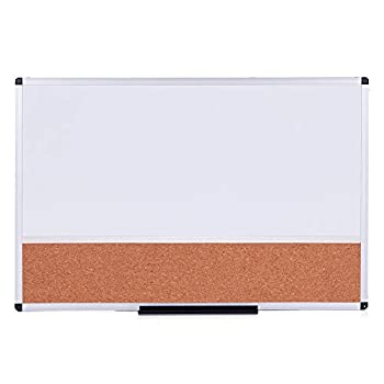 VIZ-PRO Magnetic Dry Erase Board and Cork Notice Board Combination 36 X 24 Inches White Bulletin Board for School Office and Home